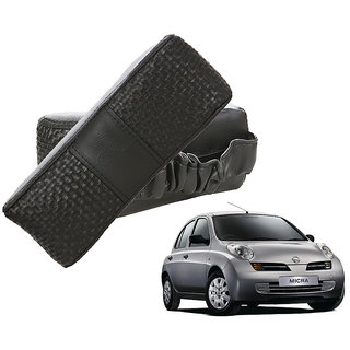 Auto Addict CV Designer Black Neck Leatherite Car Pillow Cushion Kit 2 Pcs for Nissan Micra