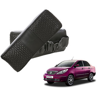 Auto Addict CV Designer Black Neck Leatherite Car Pillow Cushion Kit 2 Pcs for Tata Manza