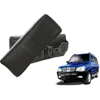 Auto Addict CV Designer Black Neck Leatherite Car Pillow Cushion Kit 2 Pcs for Universal For Car