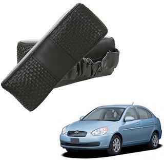 Auto Addict CV Designer Black Neck Leatherite Car Pillow Cushion Kit 2 Pcs for Hyundai Verna