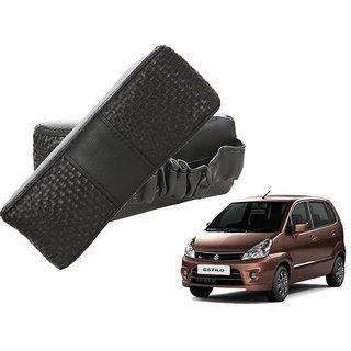 Auto Addict CV Designer Black Neck Leatherite Car Pillow Cushion Kit 2 Pcs for Maruti Suzuki Zen Estilo