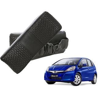 Auto Addict CV Designer Black Neck Leatherite Car Pillow Cushion Kit 2 Pcs for Honda Jazz