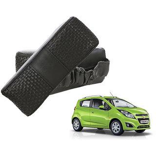 Auto Addict CV Designer Black Neck Leatherite Car Pillow Cushion Kit 2 Pcs for Chevrolet Beat