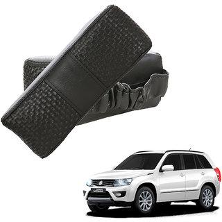 Auto Addict CV Designer Black Neck Leatherite Car Pillow Cushion Kit 2 Pcs for Maruti Suzuki Grand Vitara