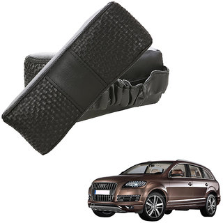 Auto Addict CV Designer Black Neck Leatherite Car Pillow Cushion Kit 2 Pcs for Audi Q7