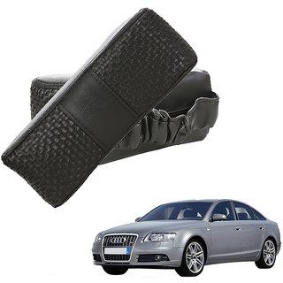 Auto Addict CV Designer Black Neck Leatherite Car Pillow Cushion Kit 2 Pcs for Audi A6