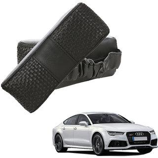Auto Addict CV Designer Black Neck Leatherite Car Pillow Cushion Kit 2 Pcs for Audi A7