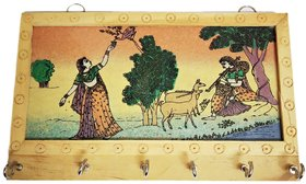 Ramani Handicraft Wooden Wall Decor Rajasthani 6 Hook Key Hanger