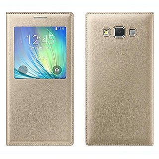check out 5d405 ca4af Samsung Galaxy A7 2015 OLD EDITION (SM-A700F) Window Flip Cover (GOLD)