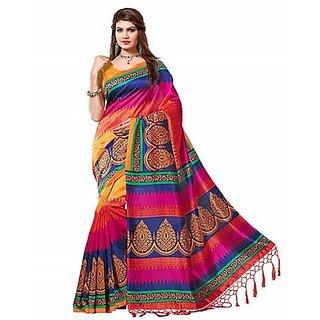 Yuvanika Multicolor Art Silk Printed Saree With Blouse