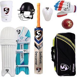 SG CRICKET KIT BAG WITH HELMET  LEATHER BALL SIZE 6