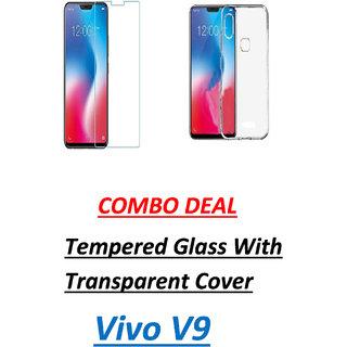 Vivo V9 Tempered Glass With Transparent Back Cover Standard Quality