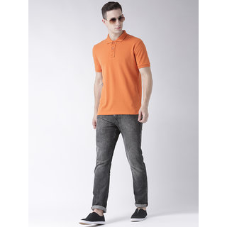 Men's half sleeve solid polo t-shirt has gathered Placket