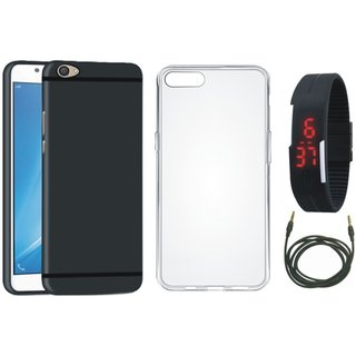 Redmi Y1 Lite Soft Silicon Slim Fit Back Cover with Silicon Back Cover, Digital Watch and AUX Cable