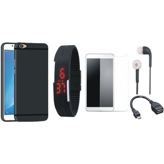 Redmi Y1 Lite Soft Silicon Slim Fit Back Cover with Free Digital LED Watch, Tempered Glass, Earphones and OTG Cable