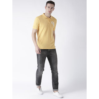 Men's half sleeve solid polo t-shirt has chest embroidery