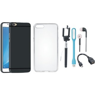 Oppo A71 Soft Silicon Slim Fit Back Cover with Silicon Back Cover, Selfie Stick, Earphones, OTG Cable and USB LED Light