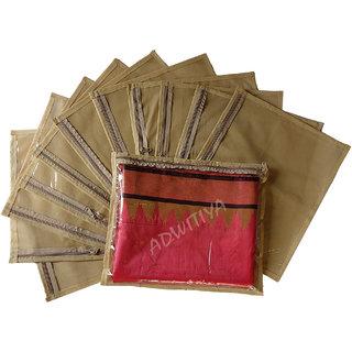 ADWITIYA 12 Pcs Set of Designer Single Saree Salwar Bedsheet Garment Cover  (Beige)