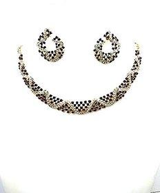 Maroon  White Diamond Jewellery set
