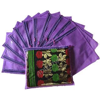 ADWITIYA 12 Pcs Set of Designer Single Saree Salwar Bedsheet Garment Cover (Purple)
