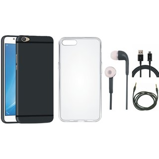 Oppo A71 Ultra Slim Back Cover with Silicon Back Cover, Earphones, USB Cable and AUX Cable