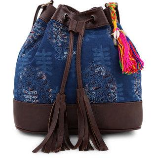 ac191bd5aaf5b8 Buy Vivinkaa Ethnic printed blue indigo bucket bag Online - Get 61% Off