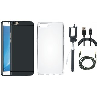 Oppo F5 Soft Silicon Slim Fit Back Cover with Silicon Back Cover, Selfie Stick, USB Cable and AUX Cable