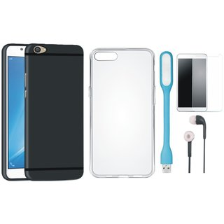 Oppo F3 Ultra Slim Back Cover with Silicon Back Cover, Tempered Glass, Earphones and USB LED Light