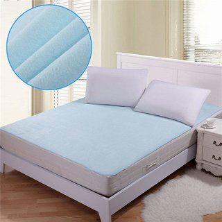 luxmi enterprises Polyester Waterproof Double Bed Mattress Protector Sheet with Elastic Strap - Blue