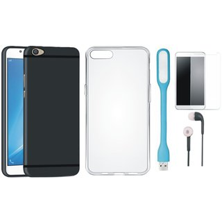 Oppo F5 Stylish Back Cover with Silicon Back Cover, Tempered Glass, Earphones and USB LED Light