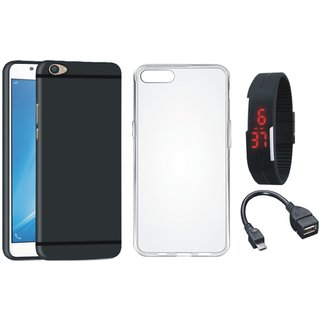 Oppo F3 Stylish Back Cover with Silicon Back Cover, Digital Watch and OTG Cable