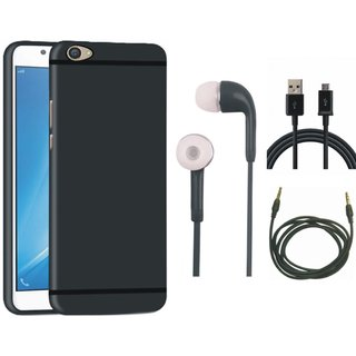 Oppo F5 Silicon Anti Slip Back Cover with Earphones, USB Cable and AUX Cable