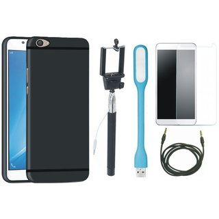 Oppo F3 Back Cover with Free Selfie Stick, Tempered Glass, LED Light and AUX Cable