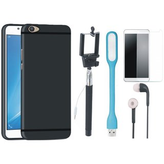 K8 Silicon Anti Slip Back Cover with Free Selfie Stick, Tempered Glass, Earphones and LED Light