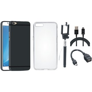 Oppo F3 Cover with Silicon Back Cover, Selfie Stick, OTG Cable and USB Cable