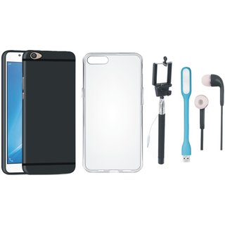 Oppo F3 Cover with Silicon Back Cover, Selfie Stick, Earphones and USB LED Light
