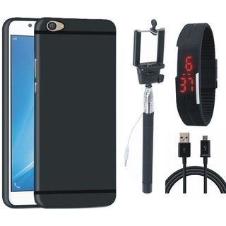 OnePlus 5 Soft Silicon Slim Fit Back Cover with Selfie Stick, Digtal Watch and USB Cable
