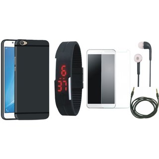 OnePlus 5 Sleek Design Back Cover with Free Digital LED Watch, Tempered Glass, Earphones and AUX Cable