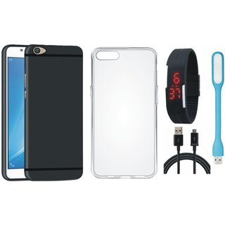 Oppo F3 Cover with Silicon Back Cover, Digital Watch, USB LED Light and USB Cable