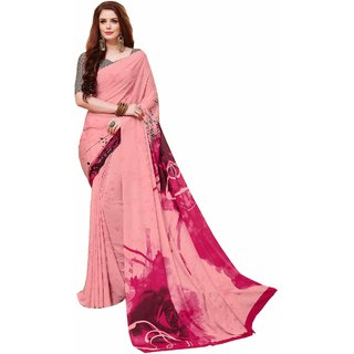 Gaurangi Creation Pink Crepe Printed Saree With Blouse