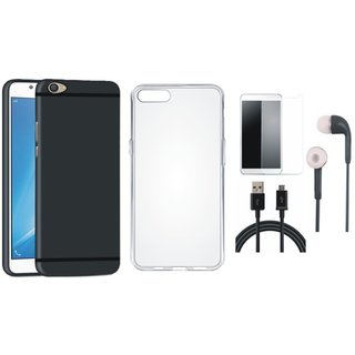 OnePlus 5 Silicon Anti Slip Back Cover with Silicon Back Cover, Tempered Glass, Earphones and USB Cable
