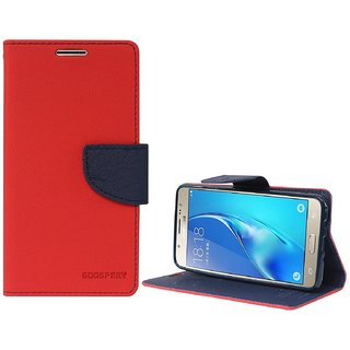 Samsung J2 AceFlipCover/ Premium Luxury Slim Artificial Leather Case for Samsung J2 Ace / Wallet Case for Samsung J2 Ace -Red By Vinnx