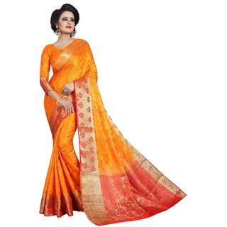 Florence Orange Nylon silk Jacquard Saree With Blouse