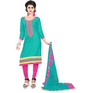 Florence Green Cotton Semi stitched Dress Material