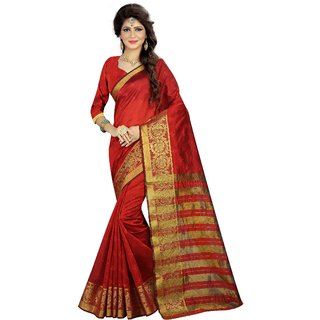 Florence Red Poly Silk Jacquard Saree With Blouse