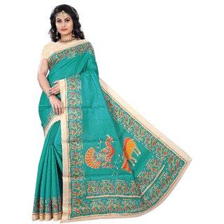 Florence Green Bhagalpuri Silk Printed Saree with Blouse
