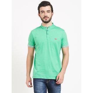 BONATY Light Green 100% Cotton Henley Neck Solid T-Shirt For Men