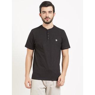 BONATY Black 100% Cotton Henley Neck Solid T-Shirt For Men