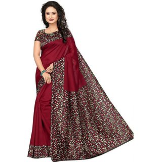 Florence Red Bhagalpuri Silk Printed Saree with Blouse