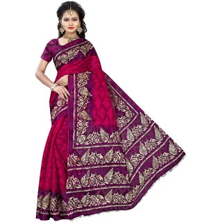 Florence Pink Poly Cotton Printed Saree With Blouse